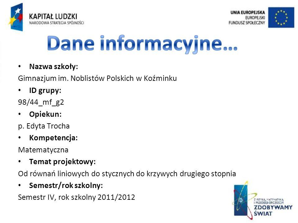 Nazwa szkoły: Gimnazjum im. Noblistów Polskich w Koźminku. ID grupy: 98/44_mf_g2. Opiekun: p. Edyta Trocha.