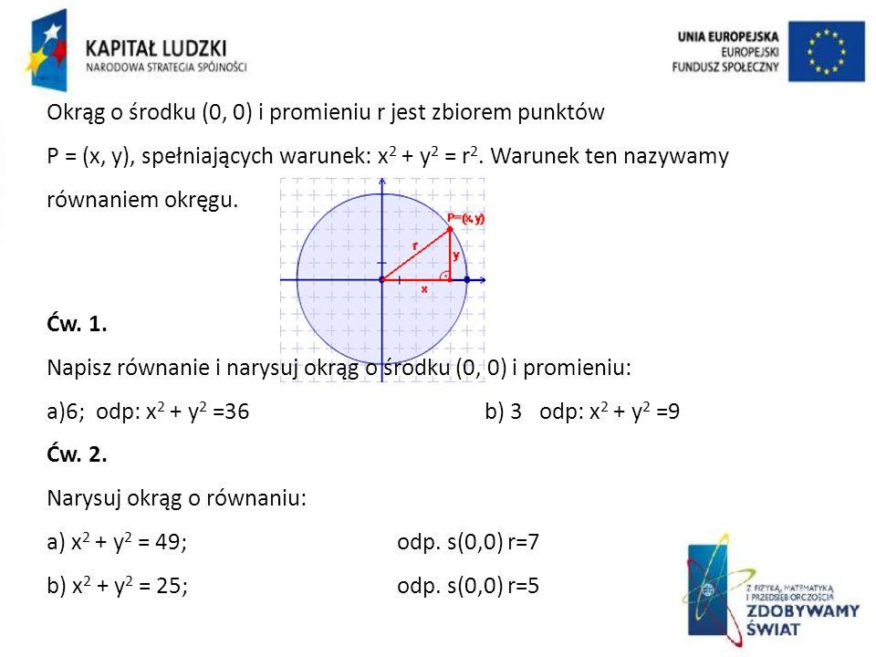 Okrąg o środku (0, 0) i promieniu r jest zbiorem punktów P = (x, y), spełniających warunek: x2 + y2 = r2. Warunek ten nazywamy równaniem okręgu.
