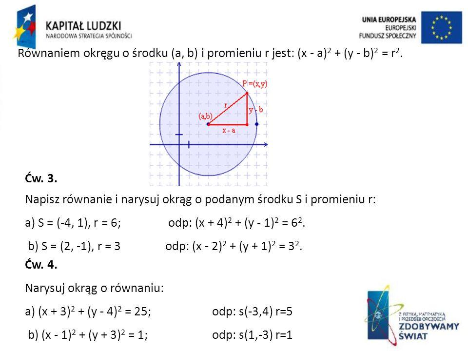 Równaniem okręgu o środku (a, b) i promieniu r jest: (x - a)2 + (y - b)2 = r2.