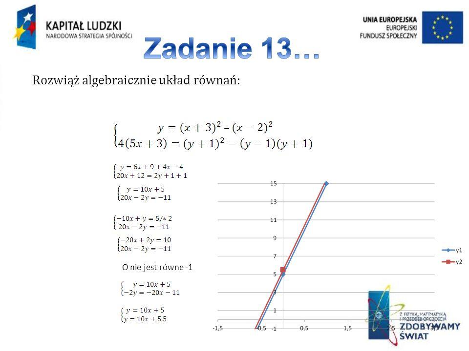 Zadanie 13… Rozwiąż algebraicznie układ równań: O nie jest równe -1
