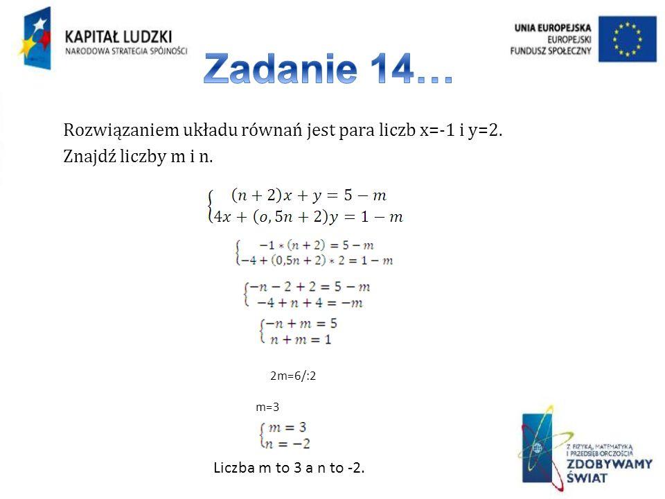 Zadanie 14… Rozwiązaniem układu równań jest para liczb x=-1 i y=2. Znajdź liczby m i n. 2m=6/:2. m=3.
