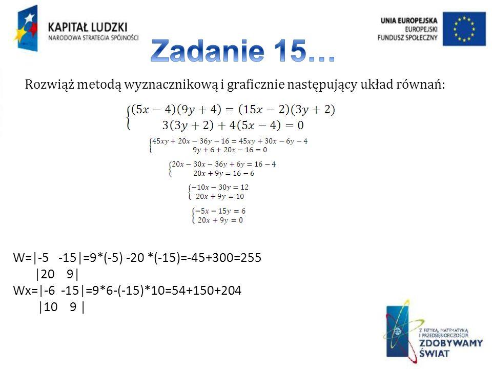 Rozwiąż metodą wyznacznikową i graficznie następujący układ równań:
