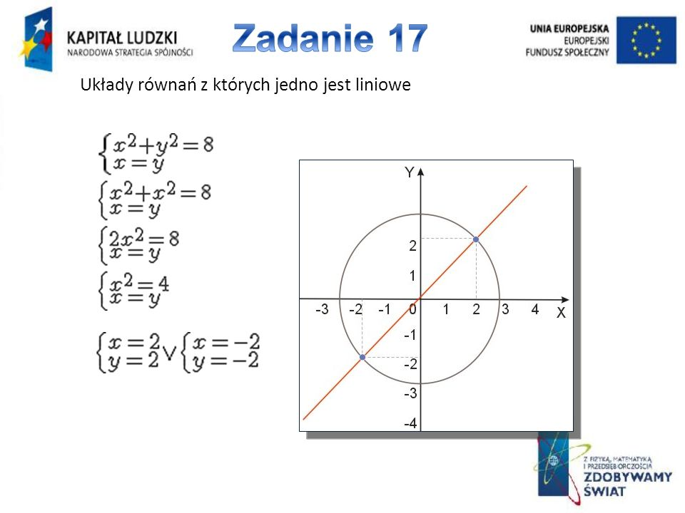 Zadanie 17 Układy równań z których jedno jest liniowe