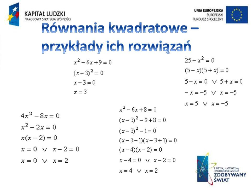 Równania kwadratowe – przykłady ich rozwiązań