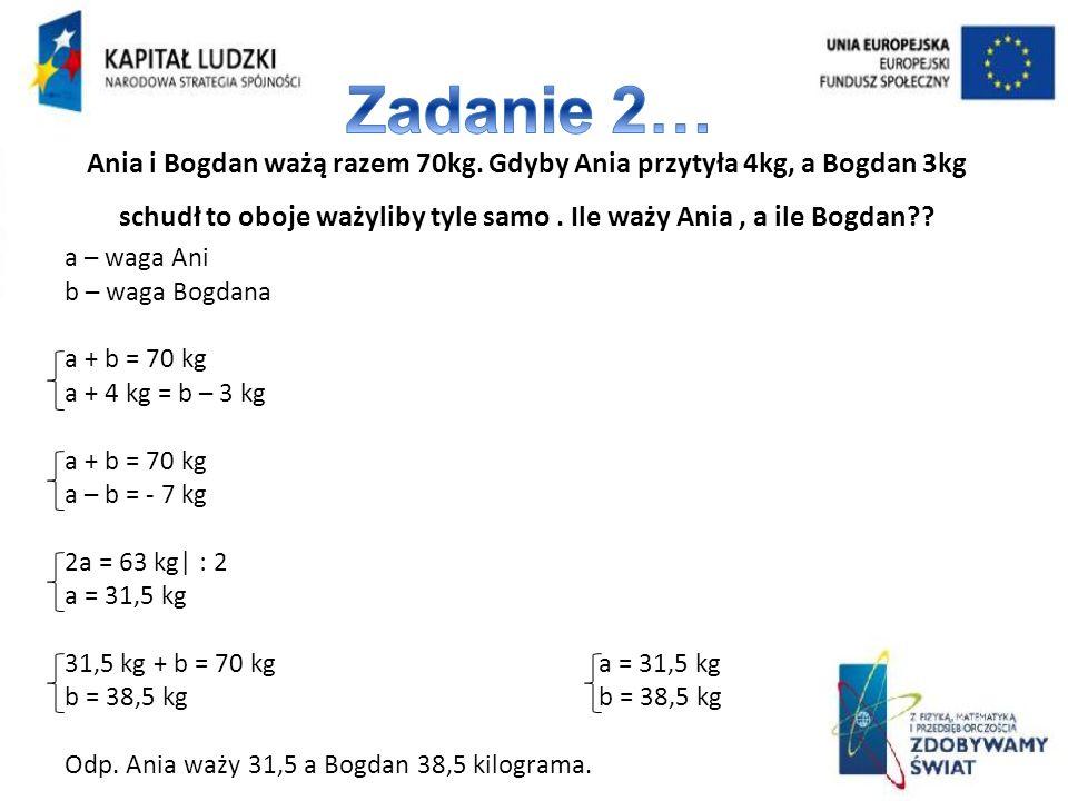 Zadanie 2… Ania i Bogdan ważą razem 70kg. Gdyby Ania przytyła 4kg, a Bogdan 3kg schudł to oboje ważyliby tyle samo . Ile waży Ania , a ile Bogdan