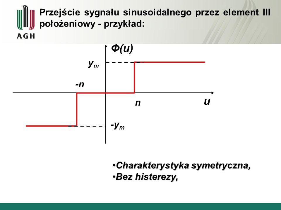 Przejście sygnału sinusoidalnego przez element III położeniowy - przykład: