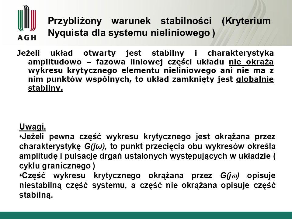 Przybliżony warunek stabilności (Kryterium Nyquista dla systemu nieliniowego )