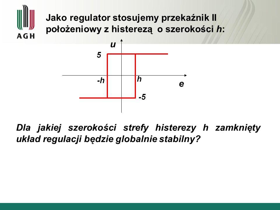 Jako regulator stosujemy przekaźnik II położeniowy z histerezą o szerokości h: