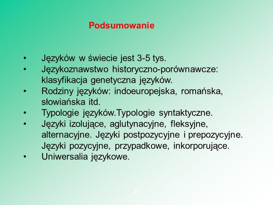 Podsumowanie Języków w świecie jest 3-5 tys. Językoznawstwo historyczno-porównawcze: klasyfikacja genetyczna języków.