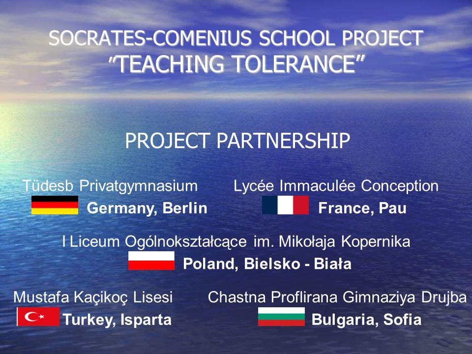SOCRATES-COMENIUS SCHOOL PROJECT TEACHING TOLERANCE