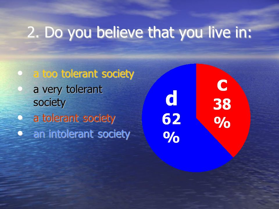 2. Do you believe that you live in: