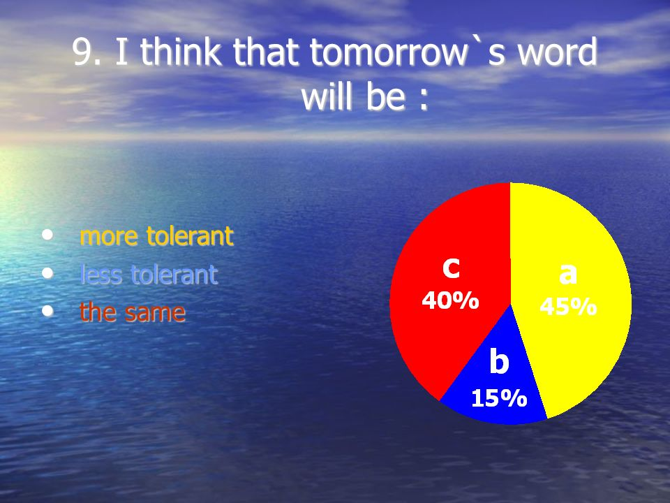 9. I think that tomorrow`s word will be :