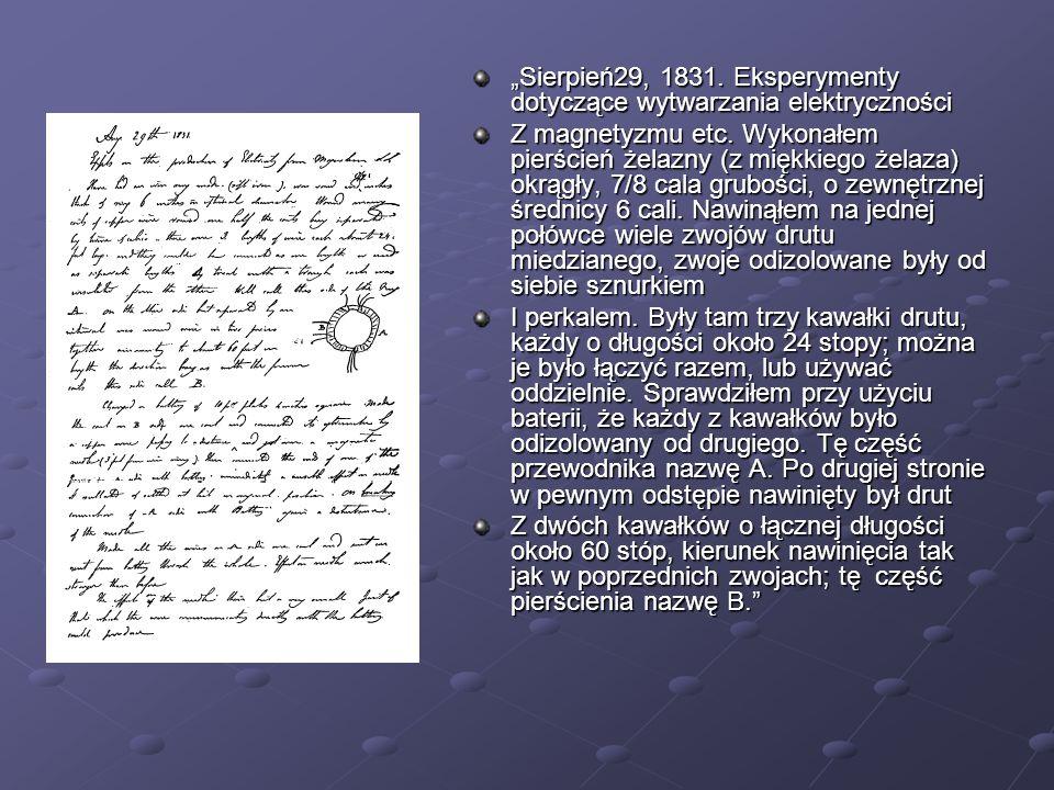 """""""Sierpień29, 1831. Eksperymenty dotyczące wytwarzania elektryczności"""