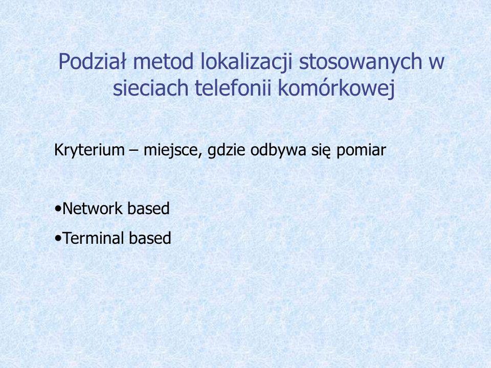 Podział metod lokalizacji stosowanych w sieciach telefonii komórkowej