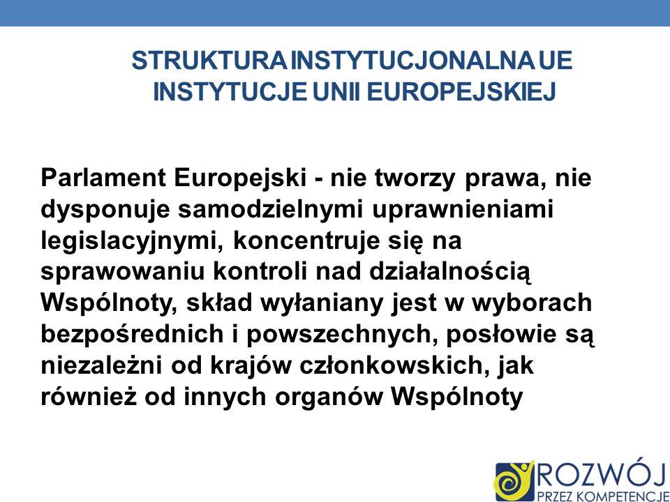 Struktura instytucjonalna UE Instytucje Unii Europejskiej