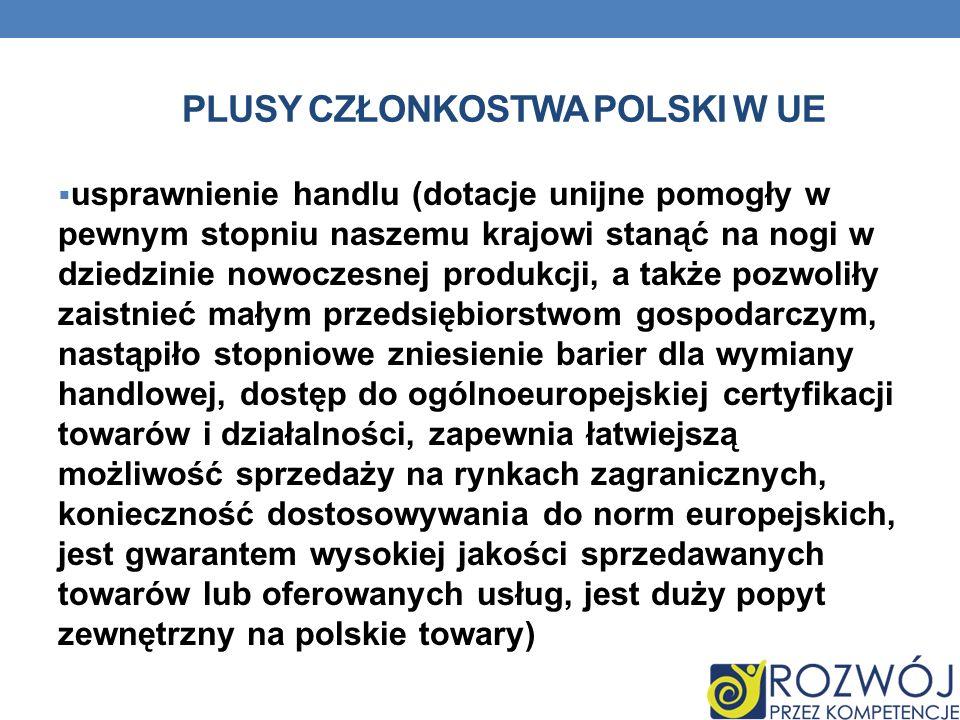 Plusy członkostwa polski w UE