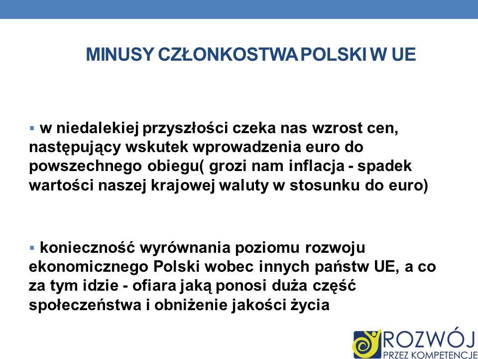 minusy członkostwa polski w UE