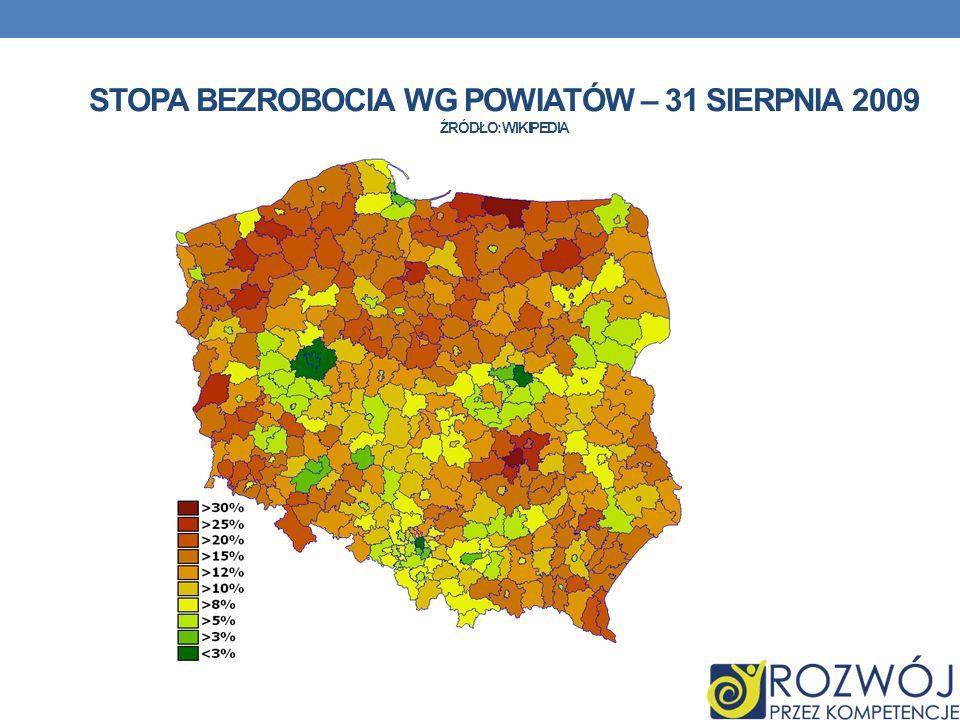 Stopa bezrobocia wg powiatów – 31 sierpnia 2009 źródło: wikipedia