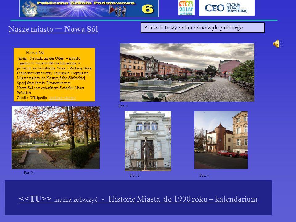 Nasze miasto – Nowa Sól Praca dotyczy zadań samorządu gminnego.