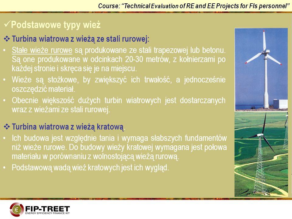 Podstawowe typy wież Turbina wiatrowa z wieżą ze stali rurowej:
