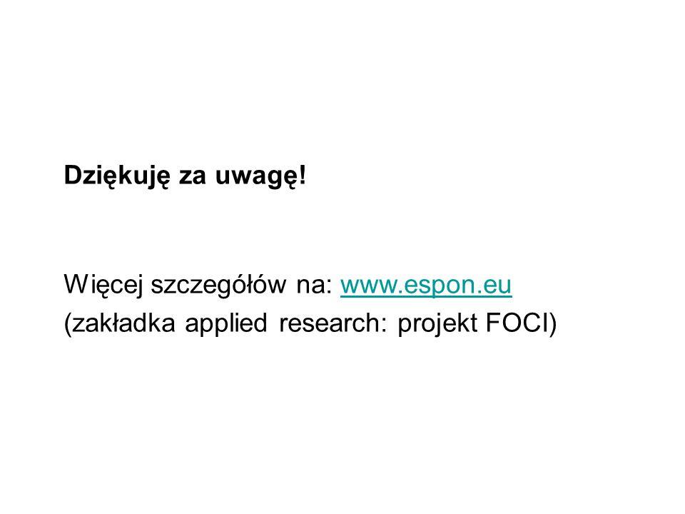 Dziękuję za uwagę! Więcej szczegółów na: www.espon.eu (zakładka applied research: projekt FOCI)