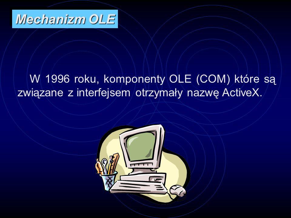 Mechanizm OLE W 1996 roku, komponenty OLE (COM) które są związane z interfejsem otrzymały nazwę ActiveX.