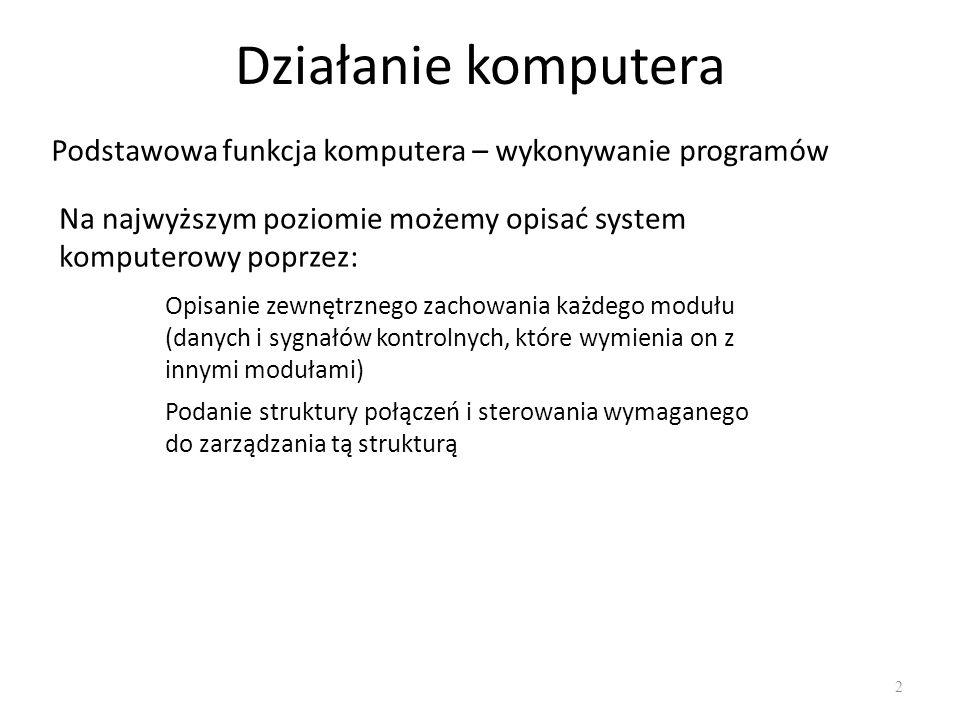 Działanie komputera Podstawowa funkcja komputera – wykonywanie programów. Na najwyższym poziomie możemy opisać system komputerowy poprzez: