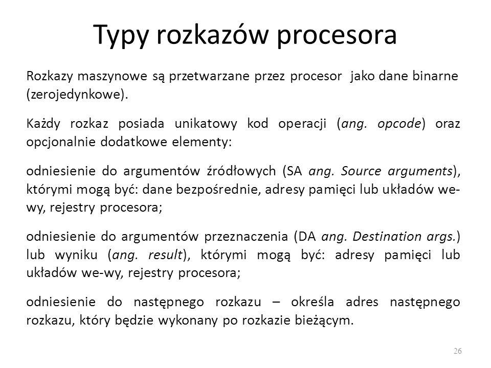 Typy rozkazów procesora