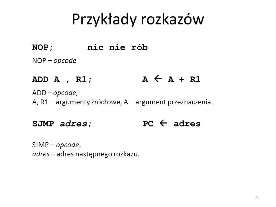 Przykłady rozkazów NOP; nic nie rób ADD A , R1; A  A + R1