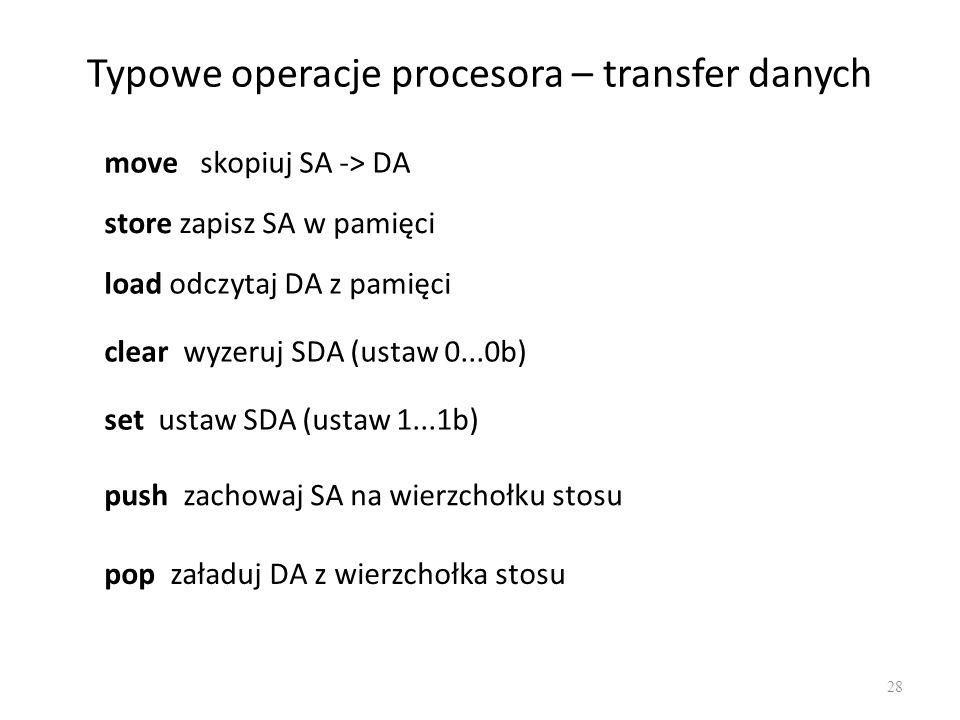 Typowe operacje procesora – transfer danych