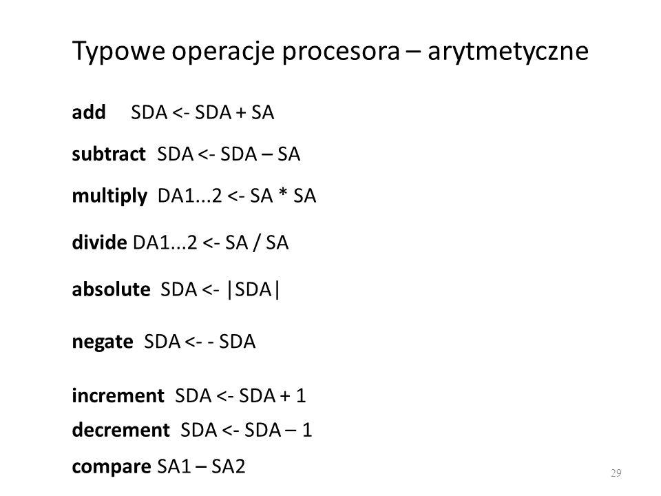 Typowe operacje procesora – arytmetyczne
