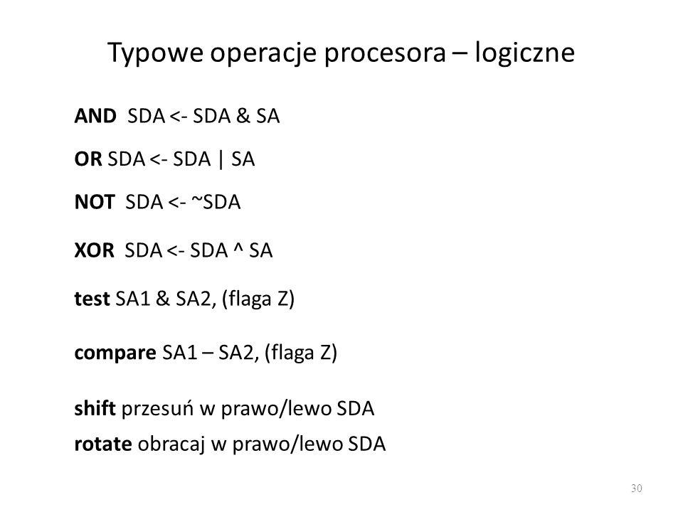 Typowe operacje procesora – logiczne