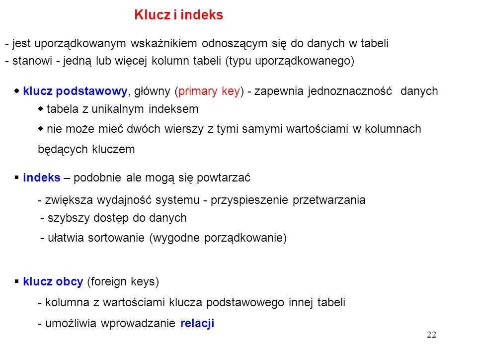 Klucz i indeks - jest uporządkowanym wskaźnikiem odnoszącym się do danych w tabeli.