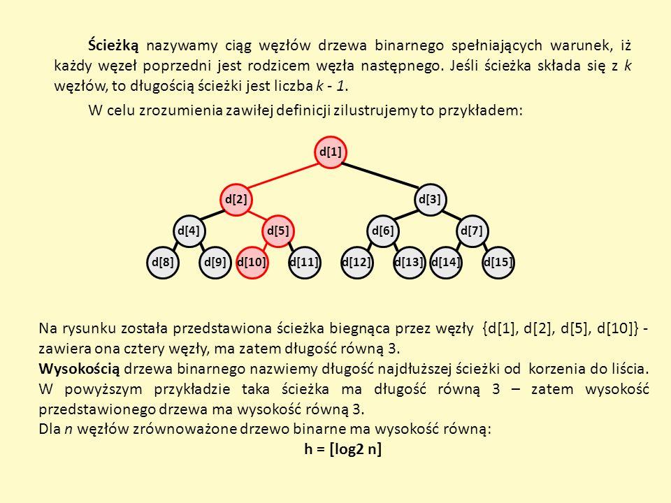 Dla n węzłów zrównoważone drzewo binarne ma wysokość równą: