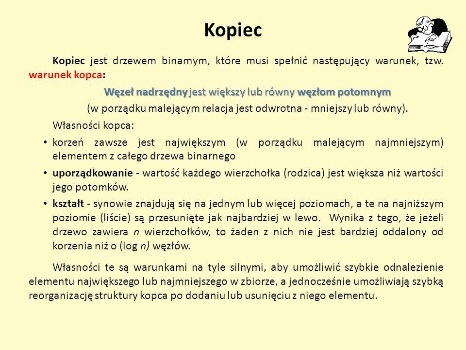 Kopiec Kopiec jest drzewem binarnym, które musi spełnić następujący warunek, tzw. warunek kopca: