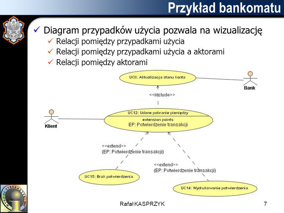 Przykład bankomatu Diagram przypadków użycia pozwala na wizualizację