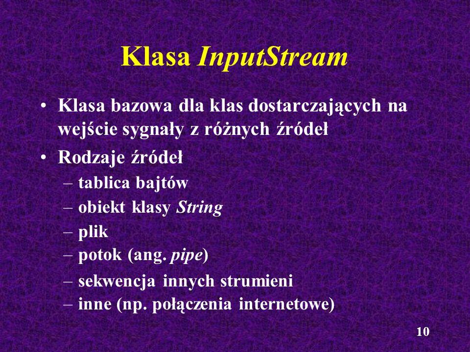 Klasa InputStream Klasa bazowa dla klas dostarczających na wejście sygnały z różnych źródeł. Rodzaje źródeł.