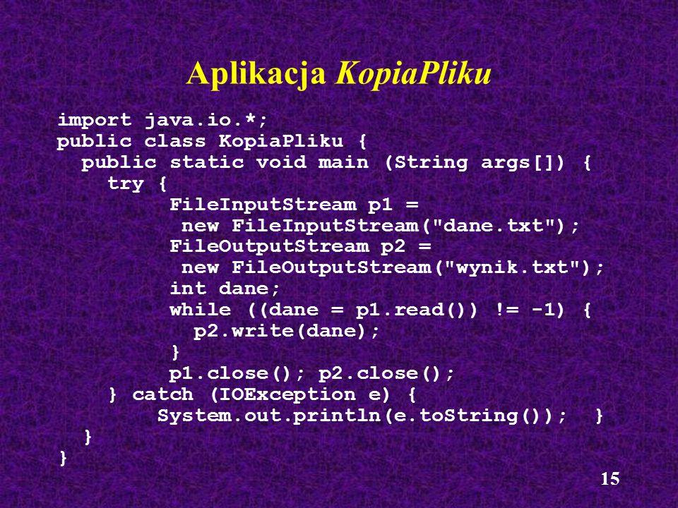 Aplikacja KopiaPliku import java.io.*; public class KopiaPliku {