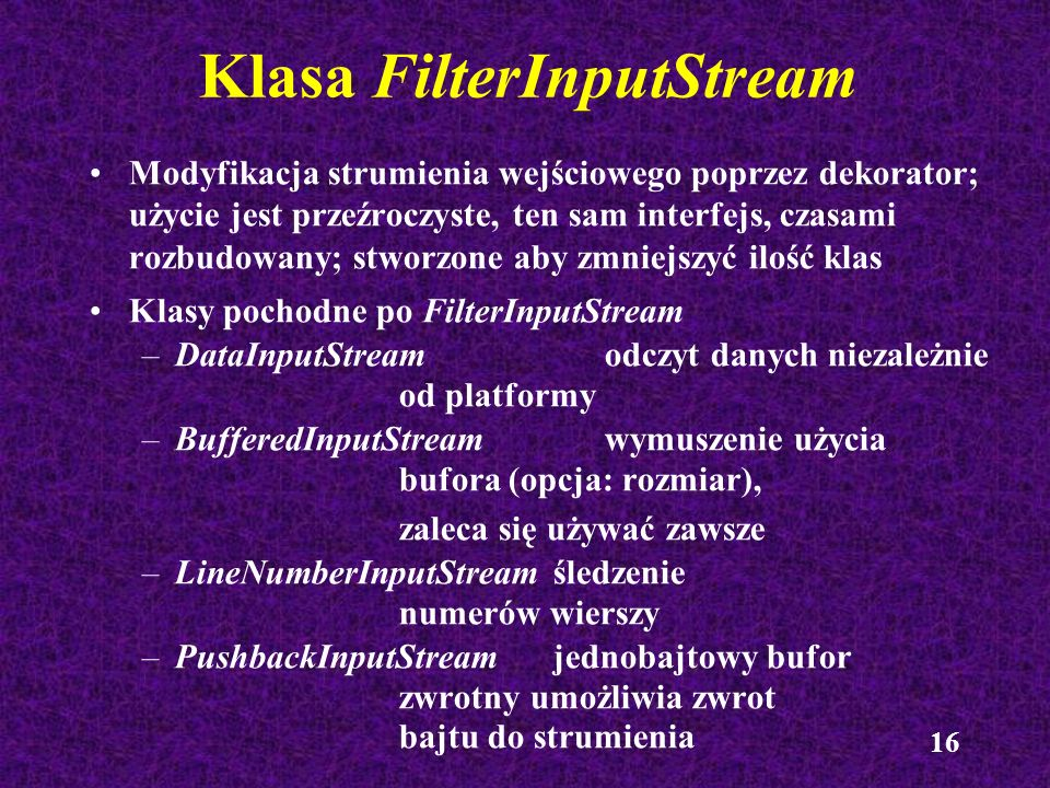 Klasa FilterInputStream