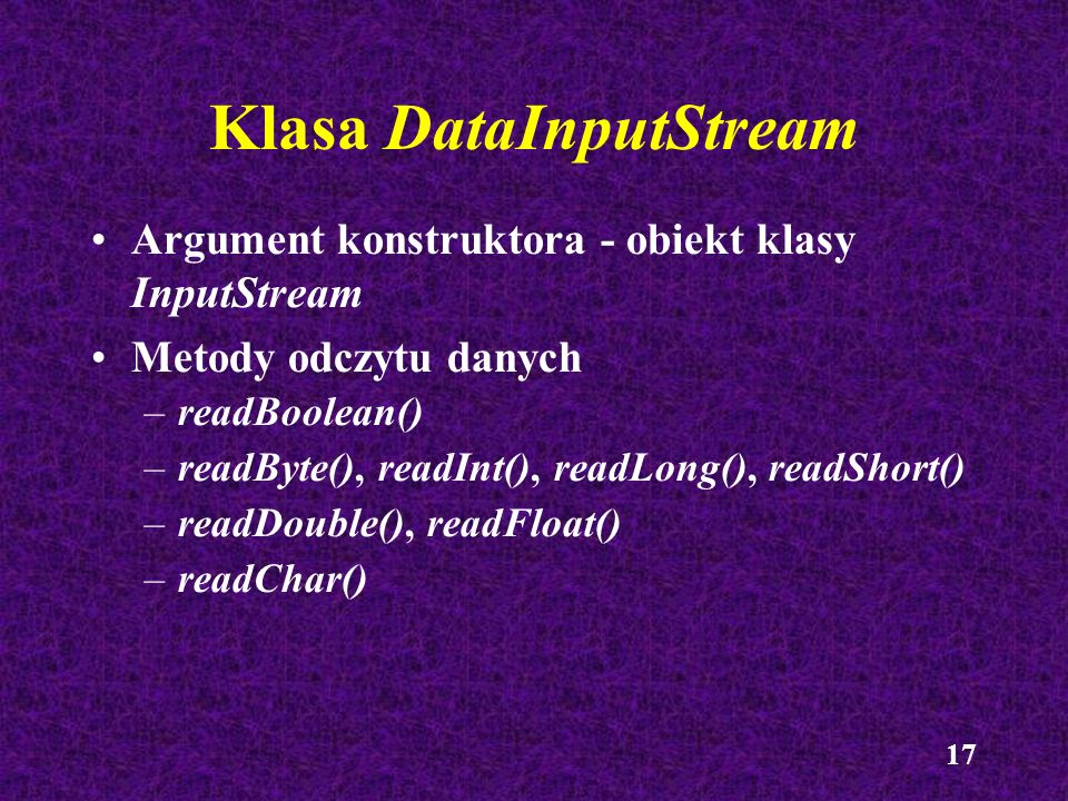 Klasa DataInputStream