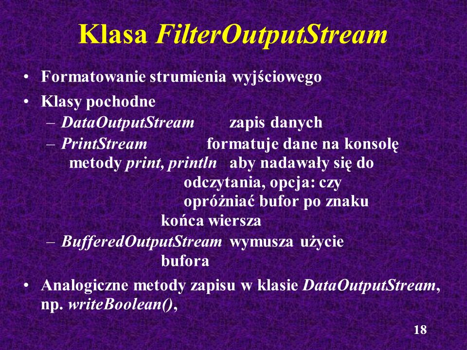 Klasa FilterOutputStream