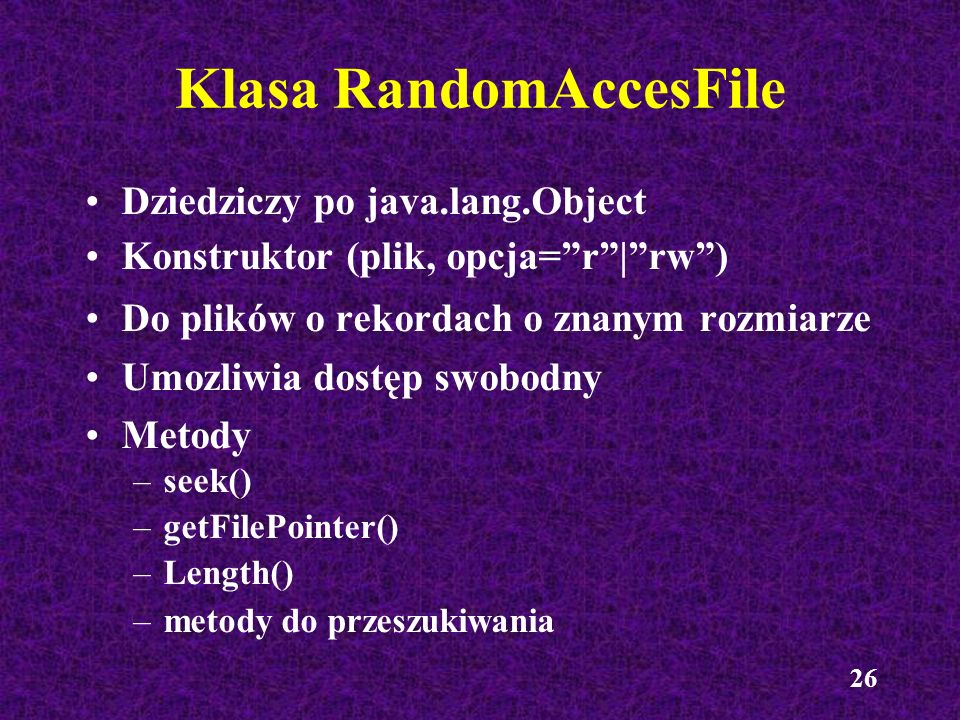 Klasa RandomAccesFile