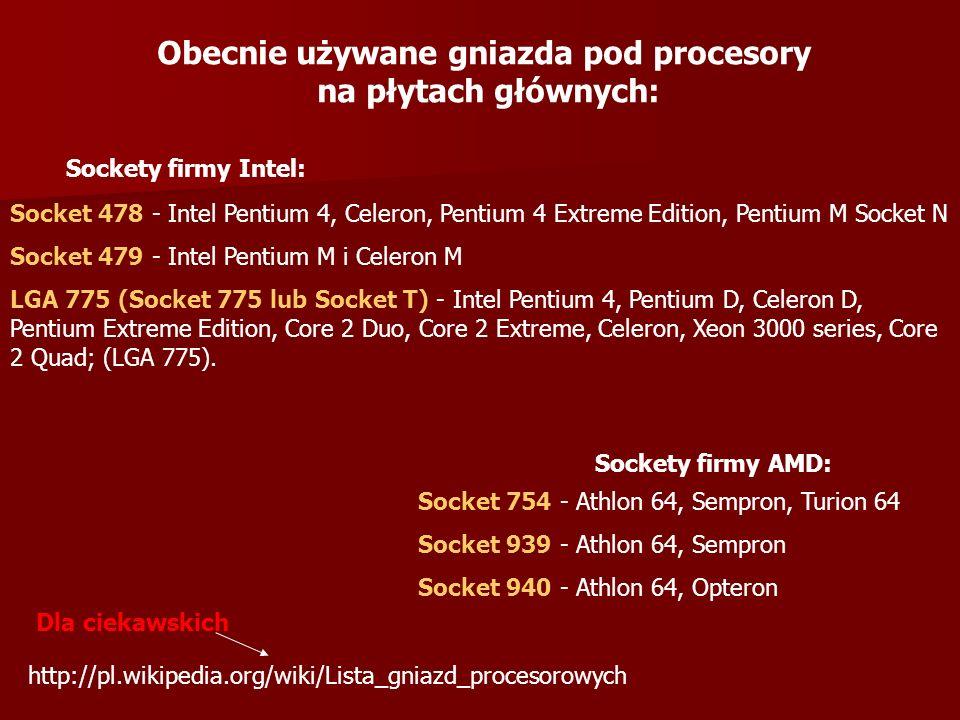 Obecnie używane gniazda pod procesory na płytach głównych: