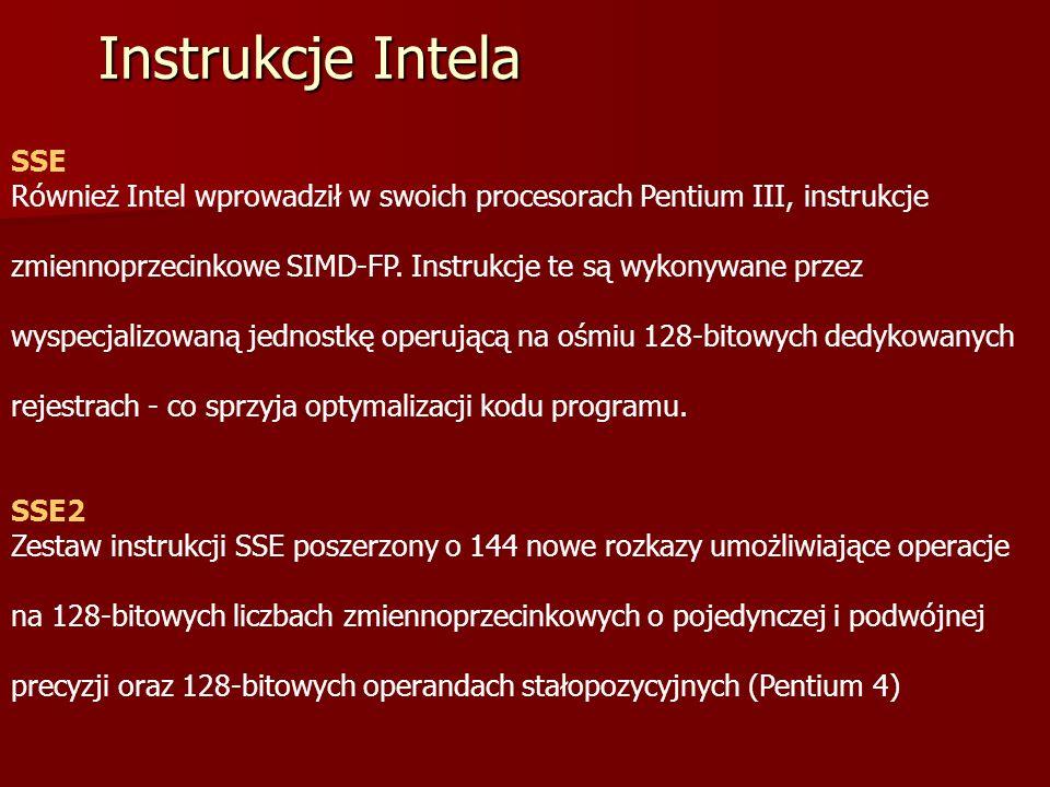 Instrukcje Intela SSE Również Intel wprowadził w swoich procesorach Pentium III, instrukcje.