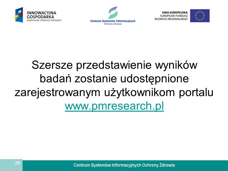 Szersze przedstawienie wyników badań zostanie udostępnione zarejestrowanym użytkownikom portalu www.pmresearch.pl
