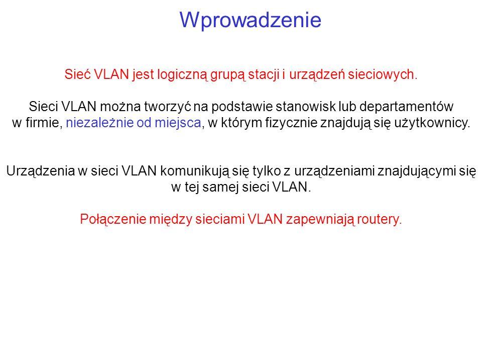 Wprowadzenie Sieć VLAN jest logiczną grupą stacji i urządzeń sieciowych.