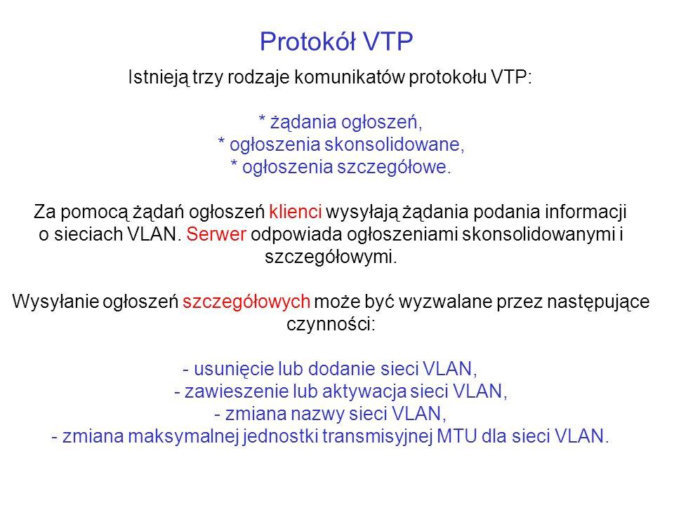 Protokół VTP Istnieją trzy rodzaje komunikatów protokołu VTP: