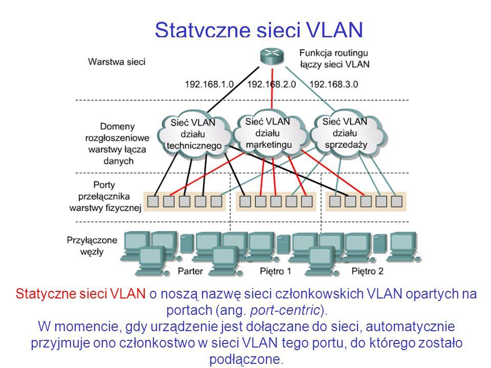 Statyczne sieci VLAN Statyczne sieci VLAN o noszą nazwę sieci członkowskich VLAN opartych na portach (ang. port-centric).
