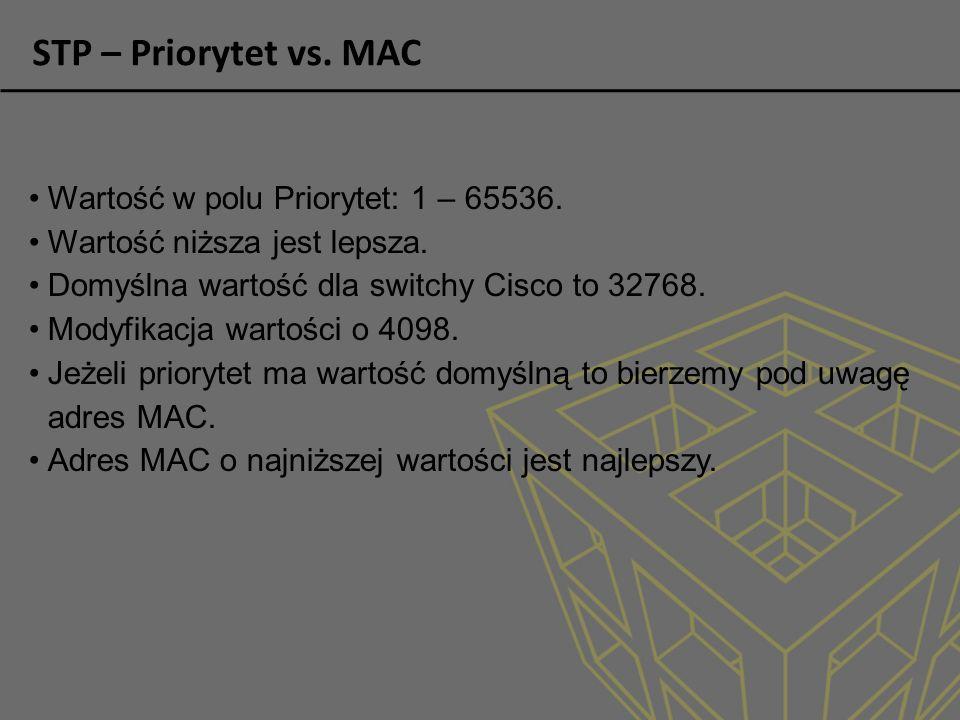 STP – Priorytet vs. MAC Wartość w polu Priorytet: 1 – 65536.