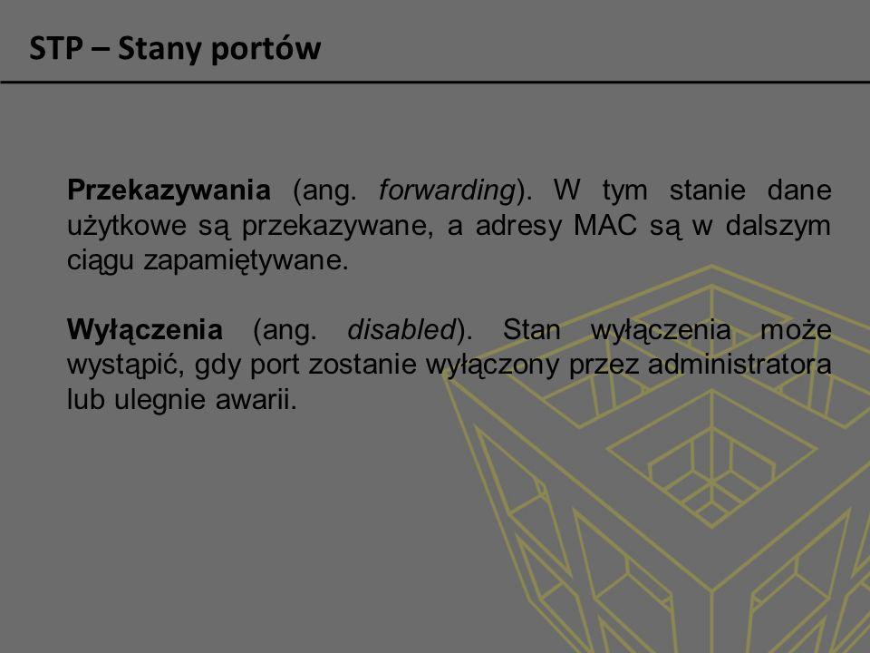 STP – Stany portów Przekazywania (ang. forwarding). W tym stanie dane użytkowe są przekazywane, a adresy MAC są w dalszym ciągu zapamiętywane.